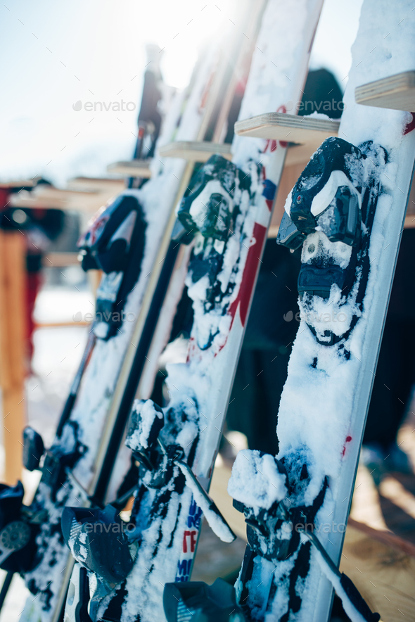 Row of snowboards closeup, winter extreme sport - Stock Photo - Images