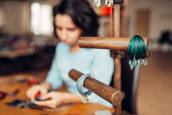 Needlework tools, master at workplace in workshop - Stock Photo - Images