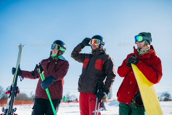 Skiers and snowboarder poses, winter sport - Stock Photo - Images