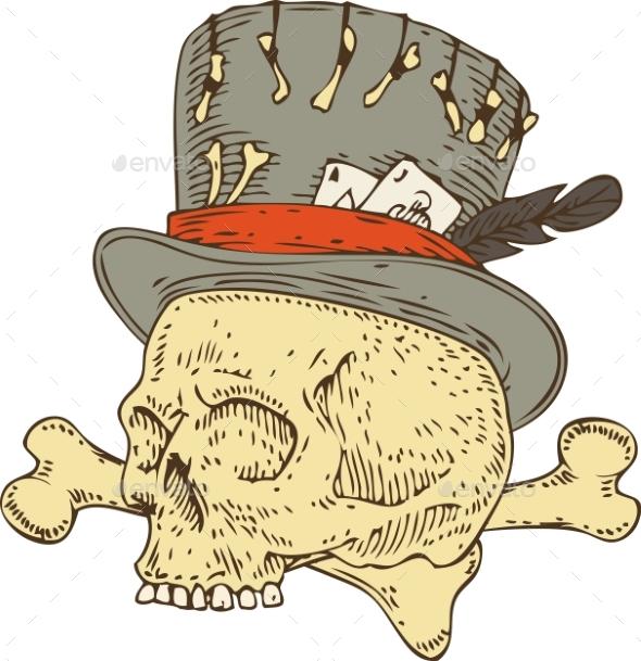Voodoo Skull in Old Hat - Miscellaneous Vectors