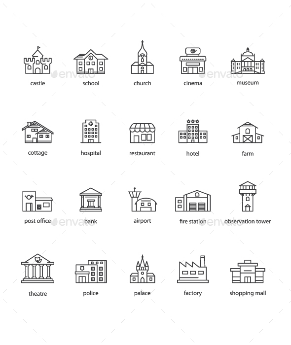 20 Touristic Icons - Buildings Objects