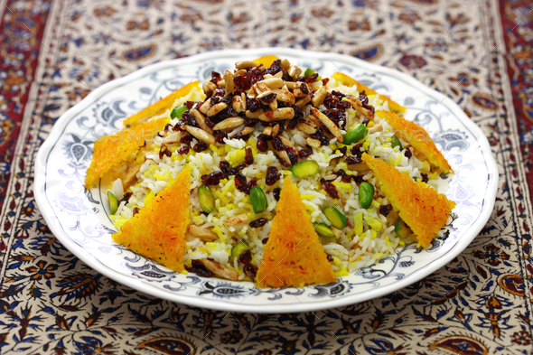 zereshk polo, barberry rice, iranian persian cuisine - Stock Photo - Images