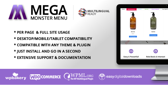 Mega Monster Menu Plugin for WordPress - CodeCanyon Item for Sale