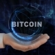 Painted Hand Shows Concept Hologram Bitcoin on His Hand - VideoHive Item for Sale