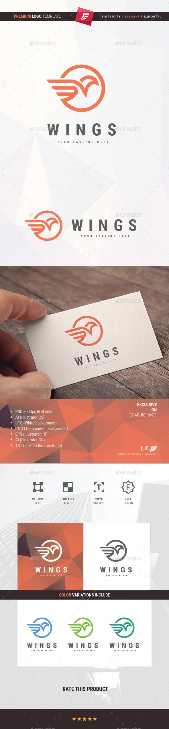Wing Bird Logo - Animals Logo Templates
