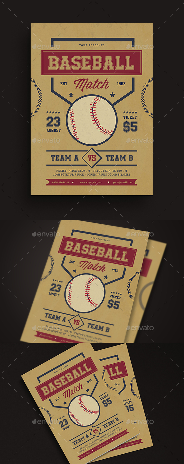 Retro Baseball Match Flyer - Sports Events