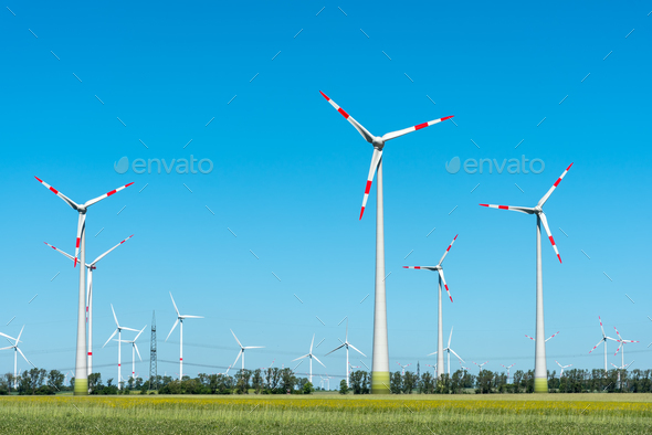 Modern wind turbines on a sunny day  - Stock Photo - Images