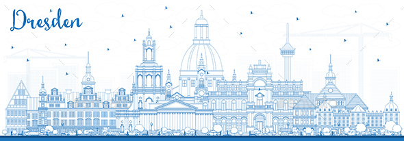 Outline Dresden Germany City Skyline with Blue Buildings. - Buildings Objects