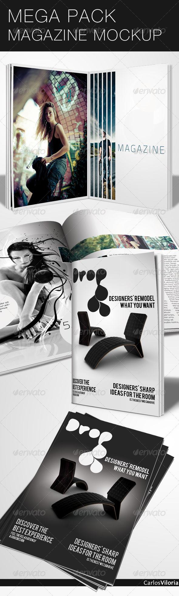 Mega Pack Magazine Mock-Up - Magazines Print Templates