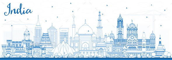 Outline India City Skyline with Blue Buildings. - Buildings Objects