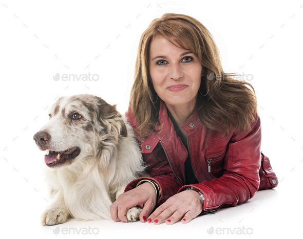 woman and dog - Stock Photo - Images
