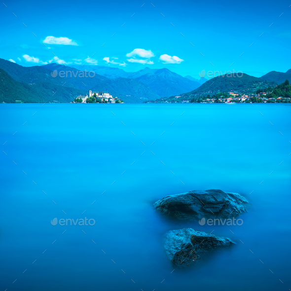 Orta Lake landscape. Orta San Giulio village and island Isola S. - Stock Photo - Images
