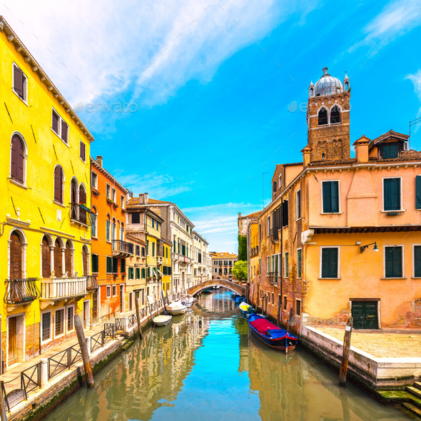 Venice cityscape, water canal, campanile church and traditional - Stock Photo - Images