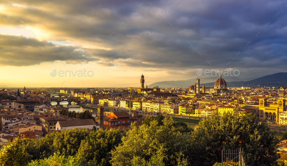 Florence or Firenze sunset aerial cityscape.Tuscany, Italy - Stock Photo - Images