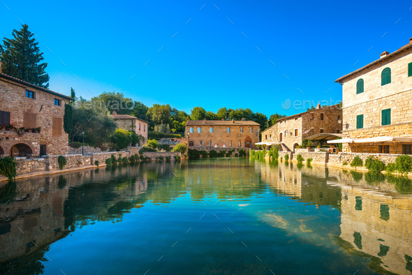 Bagno Vignoni village medieval thermal baths or hot pool. Tuscan - Stock Photo - Images