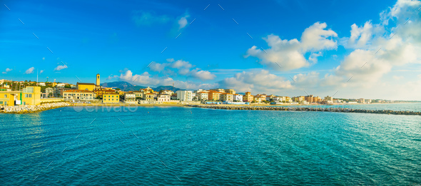 San Vincenzo beach and seafront panoramic view. Tuscany, Italy. - Stock Photo - Images