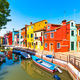 Burano island canal, colorful houses and boats,Venice, Italy - PhotoDune Item for Sale