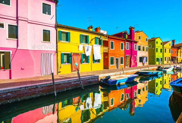 Burano island canal, colorful houses and boats,Venice, Italy - Stock Photo - Images