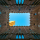Siena landmark photo. Cortile del Podesta and Mangia tower. Tusc - PhotoDune Item for Sale
