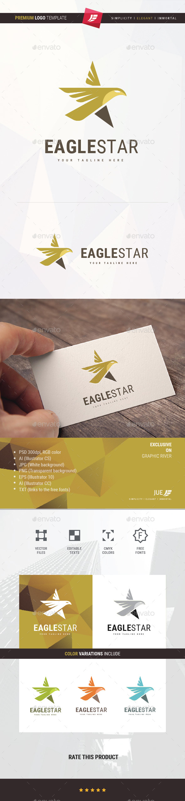 Eagle Star Logo - Animals Logo Templates