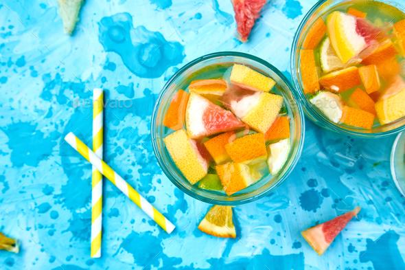Healthy Detox citrus water or lemonade. - Stock Photo - Images