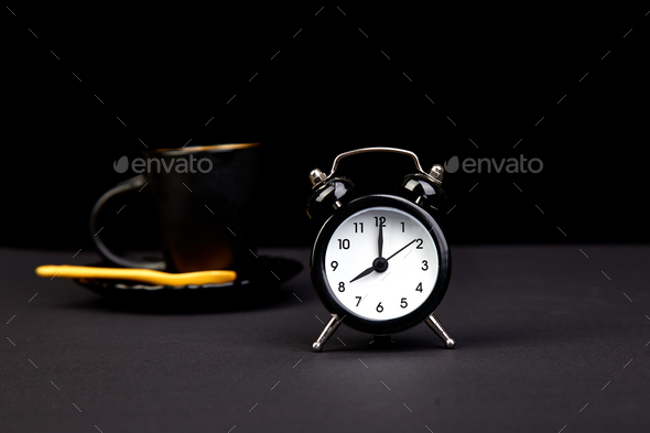 Morning coffee and alarm clock - Stock Photo - Images