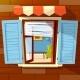 House Window Facade Vector Cartoon Illustration