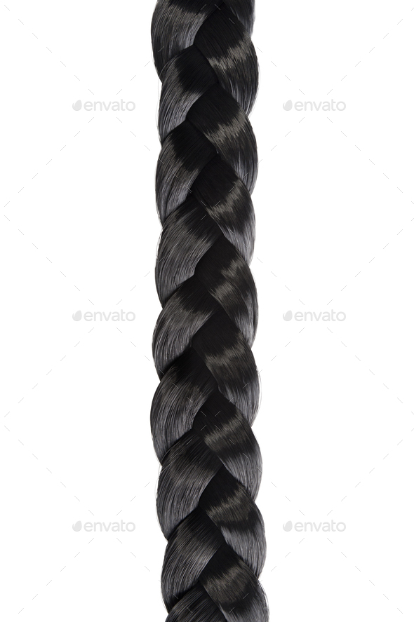 Long black hair braid - Stock Photo - Images