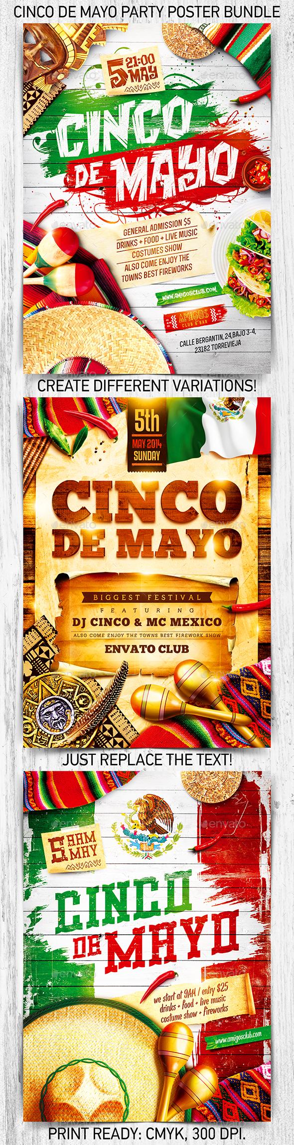 Cinco de Mayo Party Poster Bundle vol.2 - Holidays Events
