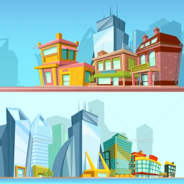 Horizontal Banners with Urban Streets and Modern - Objects Vectors