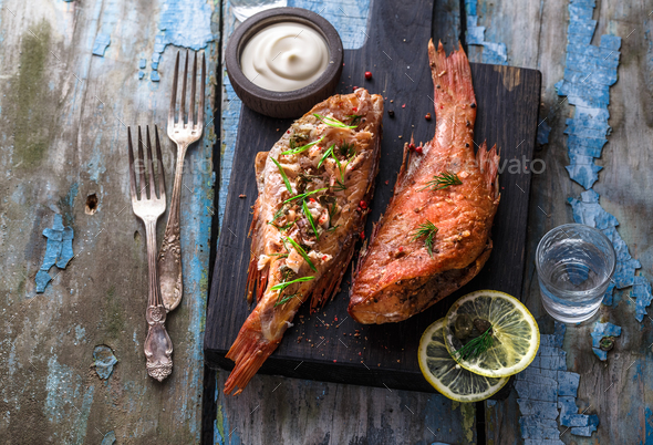 Smoked fish ocean perch with place for wording, copy space - Stock Photo - Images