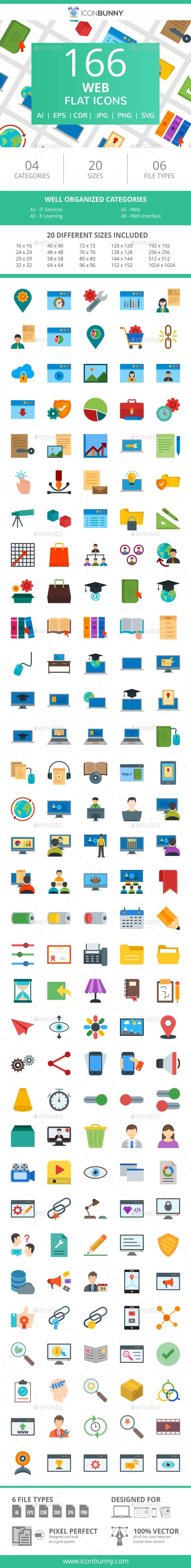 166 Web Flat Icons - Icons