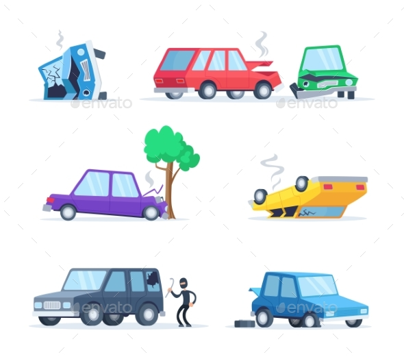 Vector Pictures Set of Different Accidents - Miscellaneous Conceptual