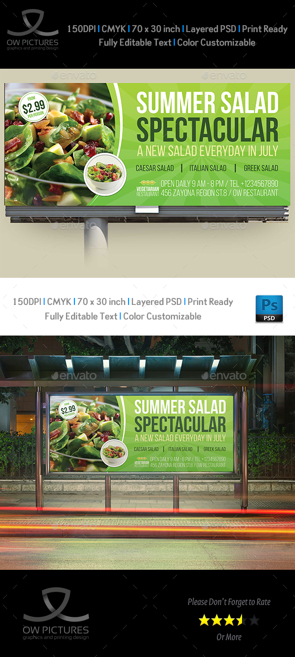 Salad Restaurant Billboard Template - Signage Print Templates