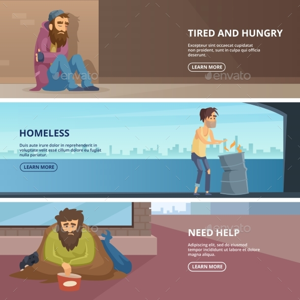 Vector Horizontal Banners with Illustrations - People Characters