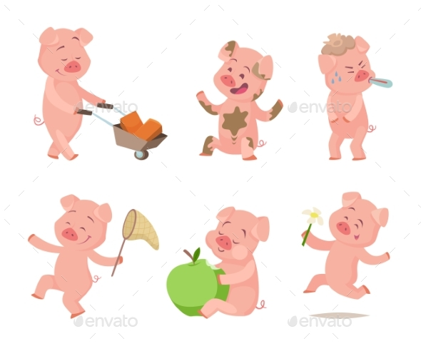 Cartoon Pigs in Action Poses - Animals Characters
