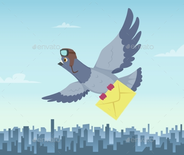 Mailing Service with Flying Pigeons - Animals Characters