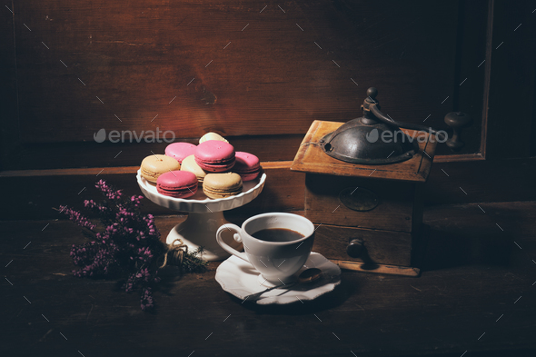 vintage still life with coffee grinder - Stock Photo - Images