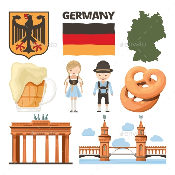 Travel Pictures Set of Traditional German Objects - Miscellaneous Vectors
