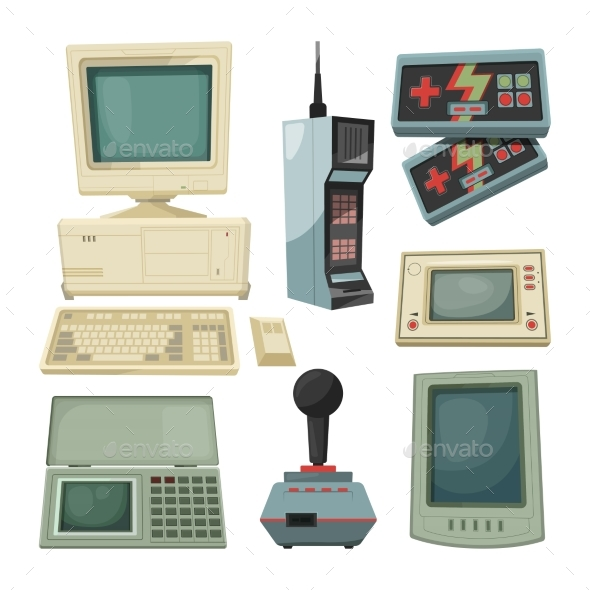 Retro Illustrations of Technicians Gadgets - Retro Technology