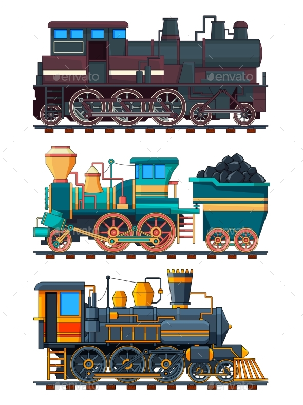 Colored Cartoon Pictures of Retro Trains - Man-made Objects Objects