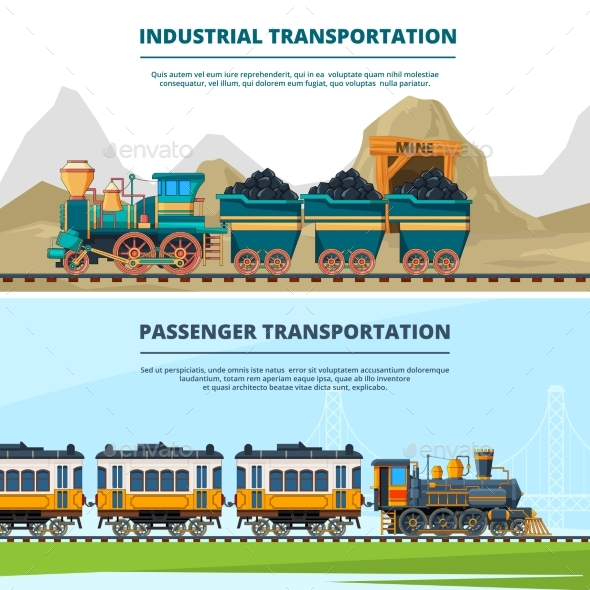 Banners Template with Train Illustrations - Man-made Objects Objects