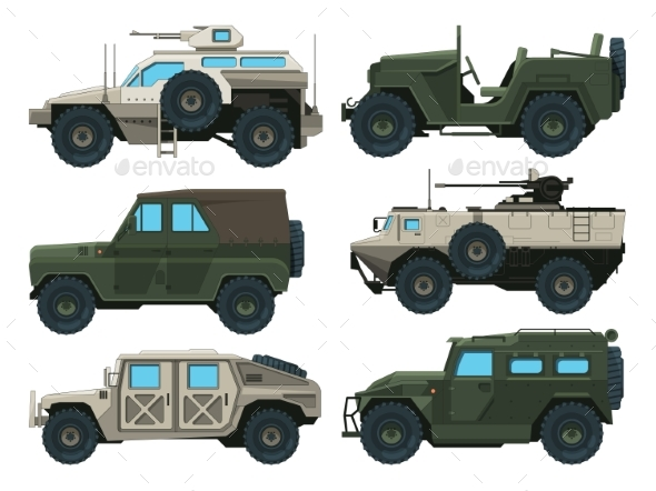 Army Vehicles Set - Man-made Objects Objects