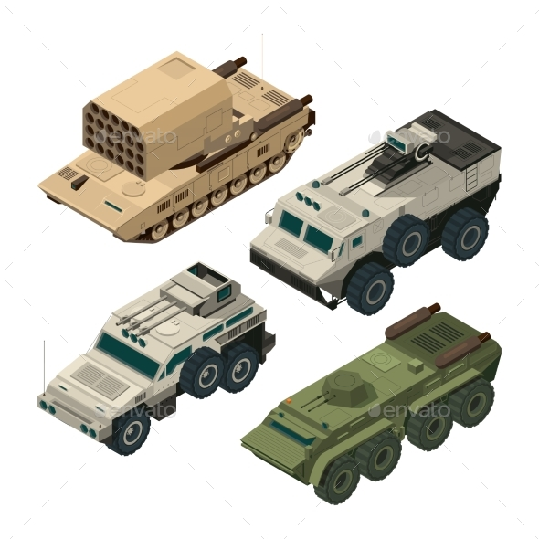 Isometric Pictures of Army Heavy Vehicles - Man-made Objects Objects