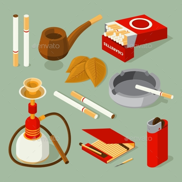 Isometric Pictures of Different Smoking Accessories - Man-made Objects Objects