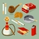 Isometric Pictures of Different Smoking Accessories