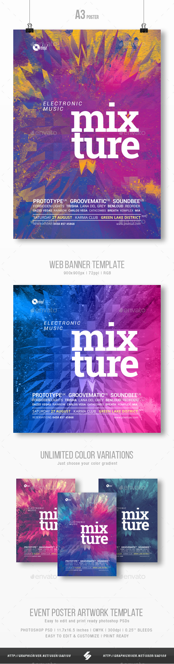 Mixture - Electronic Music Party Flyer / Poster Template A3 - Clubs & Parties Events