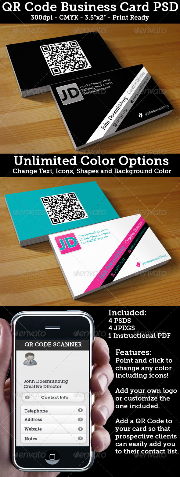 QR Code Business Card - Unlimited Colors - Corporate Business Cards