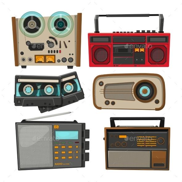 Vintage Audio Recorders Isolated on White - Retro Technology