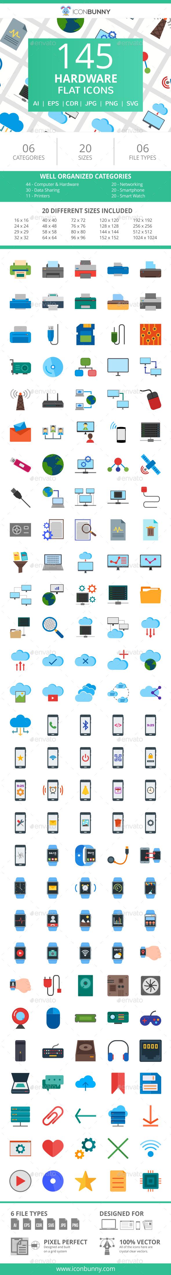145 Hardware Flat Icons - Icons